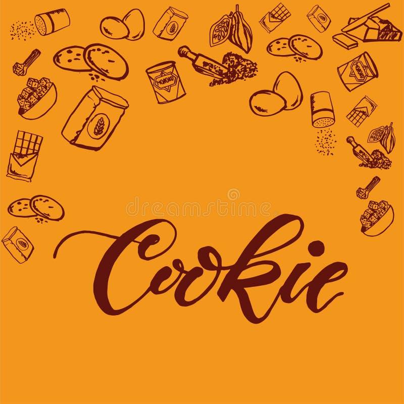 Modello degli ingredienti del biscotto del cioccolato su fondo giallo illustrazione vettoriale