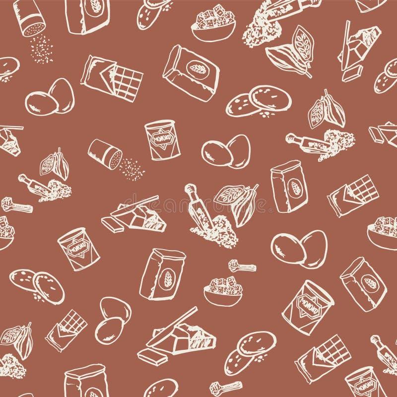 Modello degli ingredienti del biscotto del cioccolato su fondo marrone illustrazione di stock