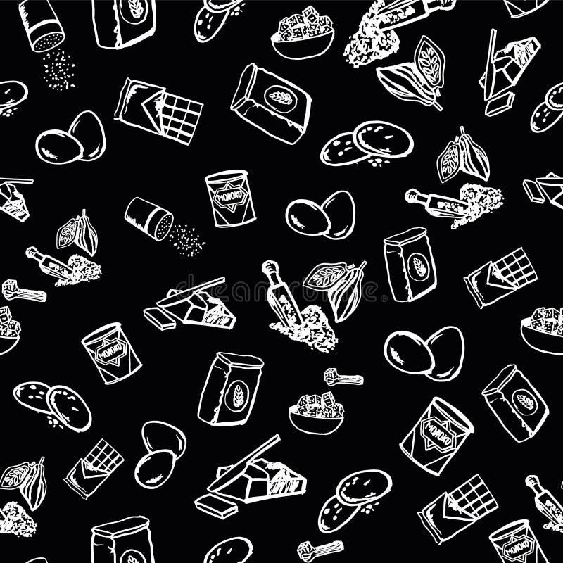 Modello degli ingredienti del biscotto su fondo nero illustrazione vettoriale