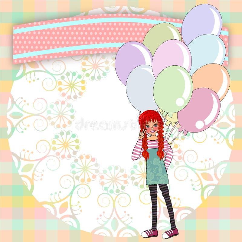 Modello degli inviti di compleanno illustrazione vettoriale