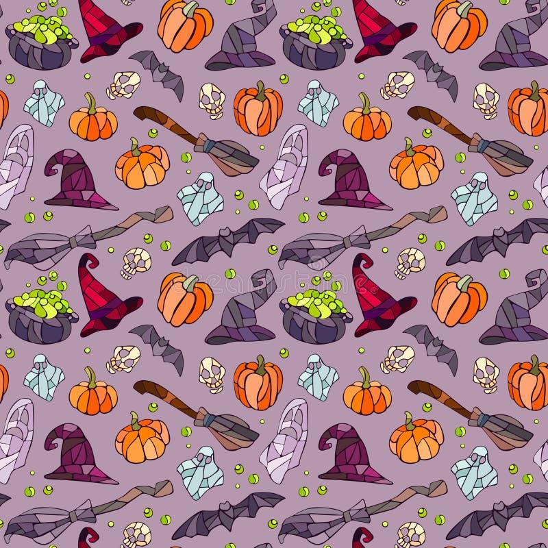 Modello degli oggetti di Halloween royalty illustrazione gratis
