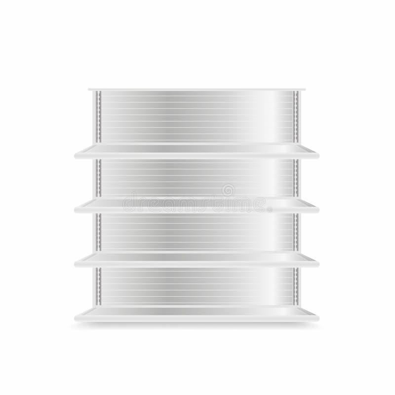 Modello degli scaffali di negozio isolato su fondo bianco Scaffali realistici del metallo del supermercato Svuoti la vetrina illustrazione vettoriale