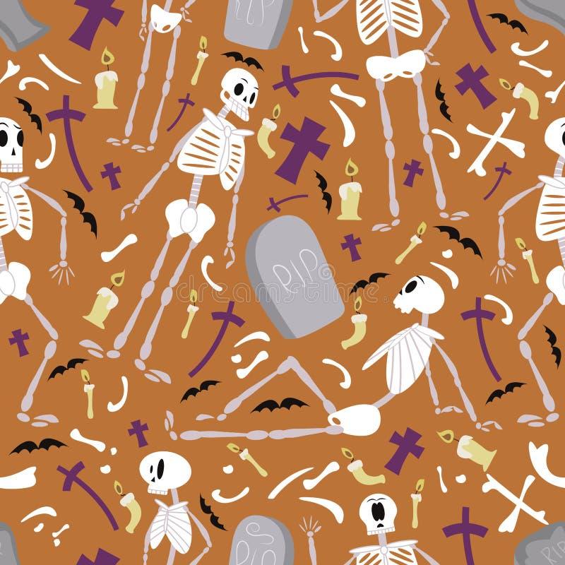 Modello 01 degli scheletri di Halloween illustrazione vettoriale