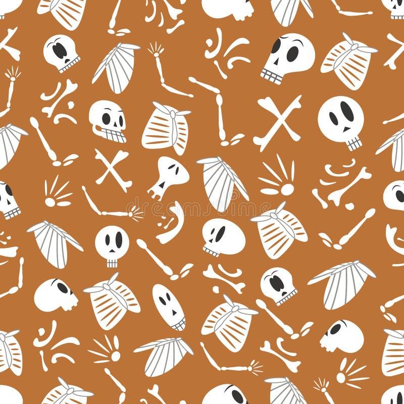 Modello 03 degli scheletri di Halloween illustrazione vettoriale