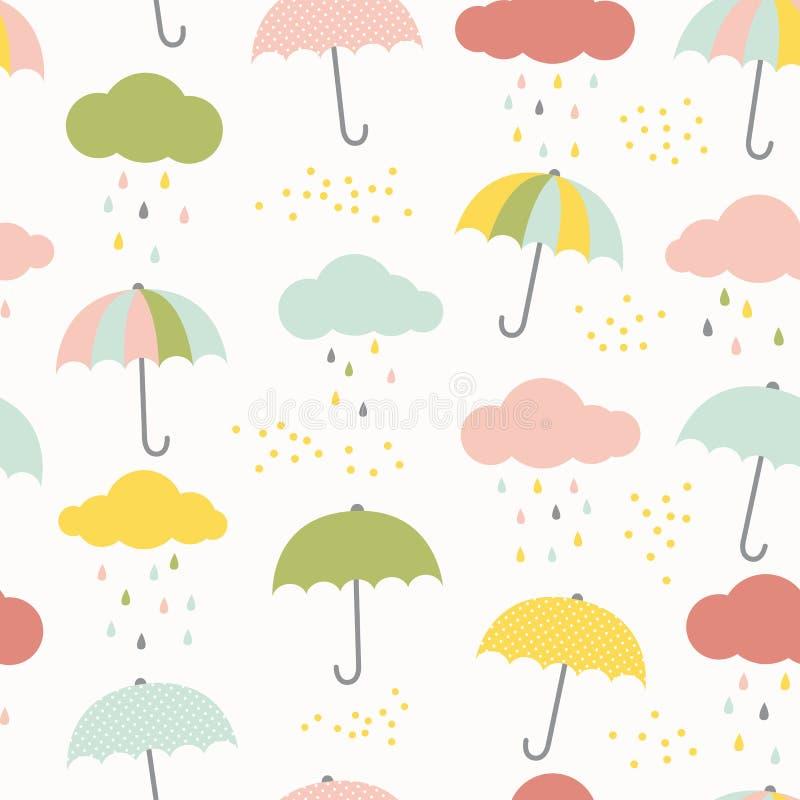 Modello dei bambini di vettore con le nuvole, le gocce di pioggia e gli ombrelli Fondo senza cuciture variopinto sveglio in blu,  royalty illustrazione gratis