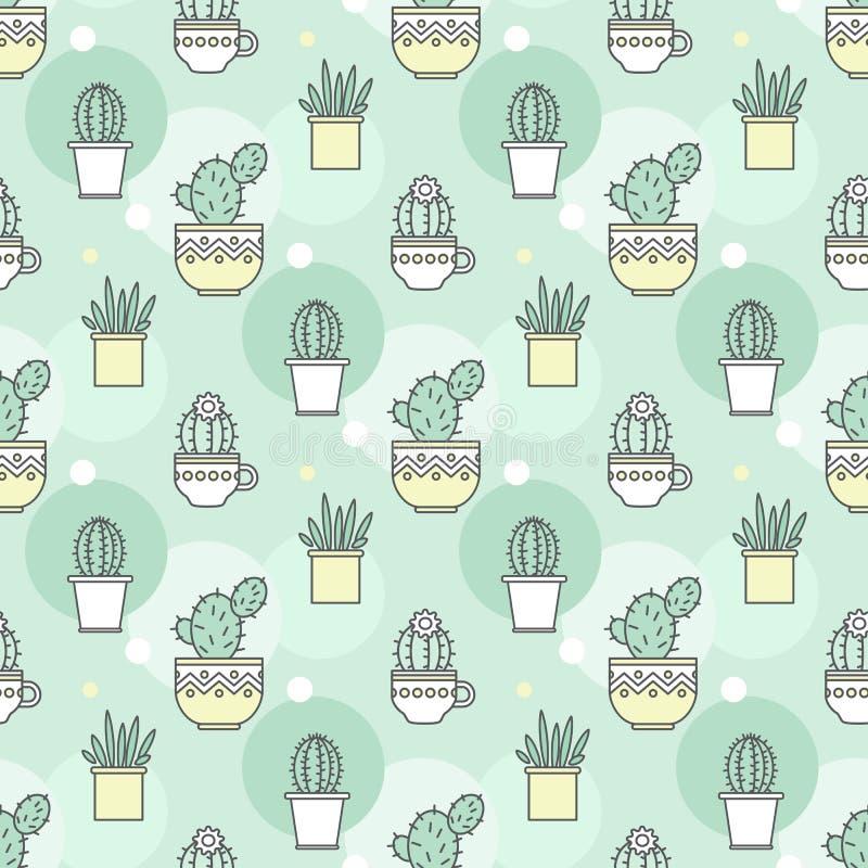 Modello dei cactus Illustrazione lineare Vettore illustrazione di stock