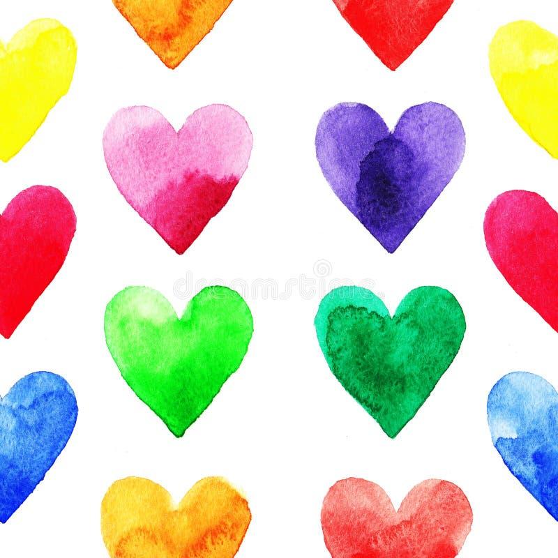 Modello dei cuori dell'arcobaleno royalty illustrazione gratis