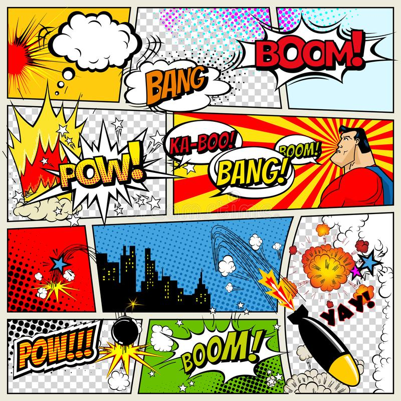 Modello dei fumetti Retro illustrazione dei fumetti del libro di fumetti di vettore Modello della pagina del libro di fumetti con illustrazione di stock