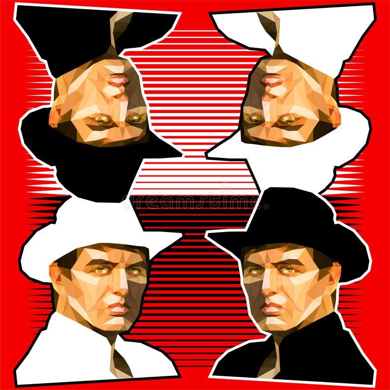 Modello dei ritratti del cowboy su fondo rosso illustrazione di stock