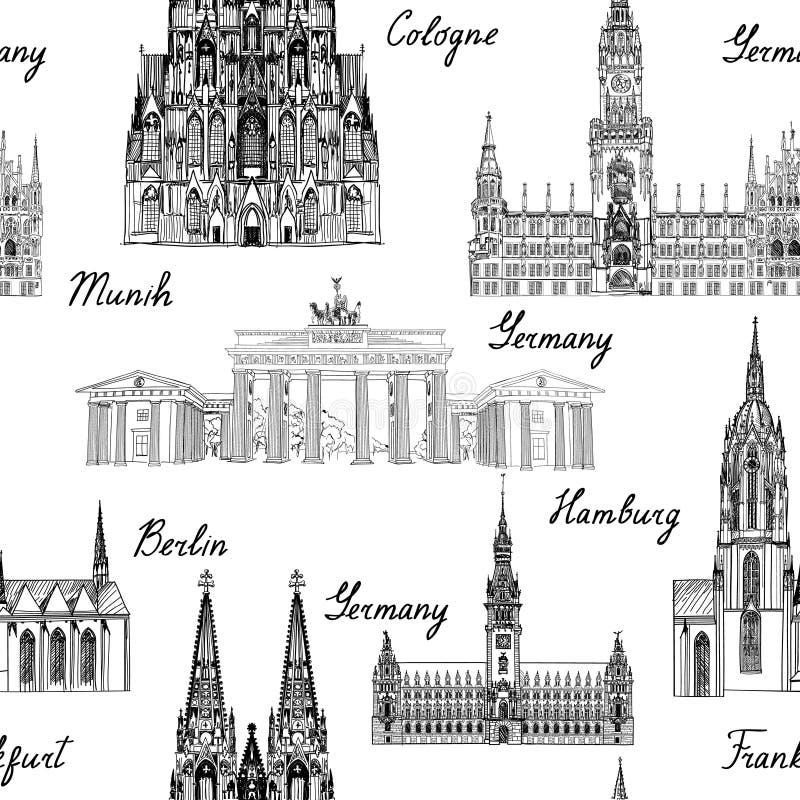 Modello dei seamlss di viaggio Fondo della Germania di visita con l'ape di schizzo royalty illustrazione gratis