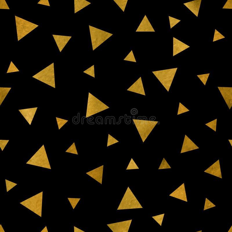 Modello dei triangoli dorati sul nero illustrazione di stock