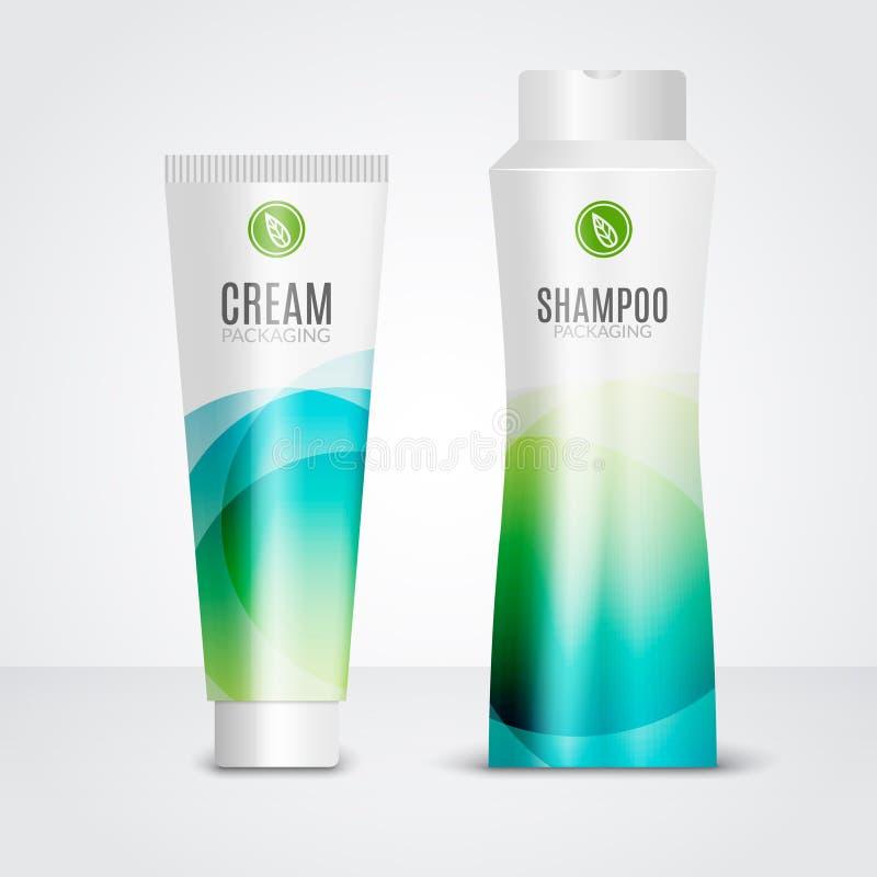 Modello dei tubi di progettazioni dei cosmetici di cura del corpo Modelli d'imballaggio di crema, del gel e dello sciampo illustrazione vettoriale