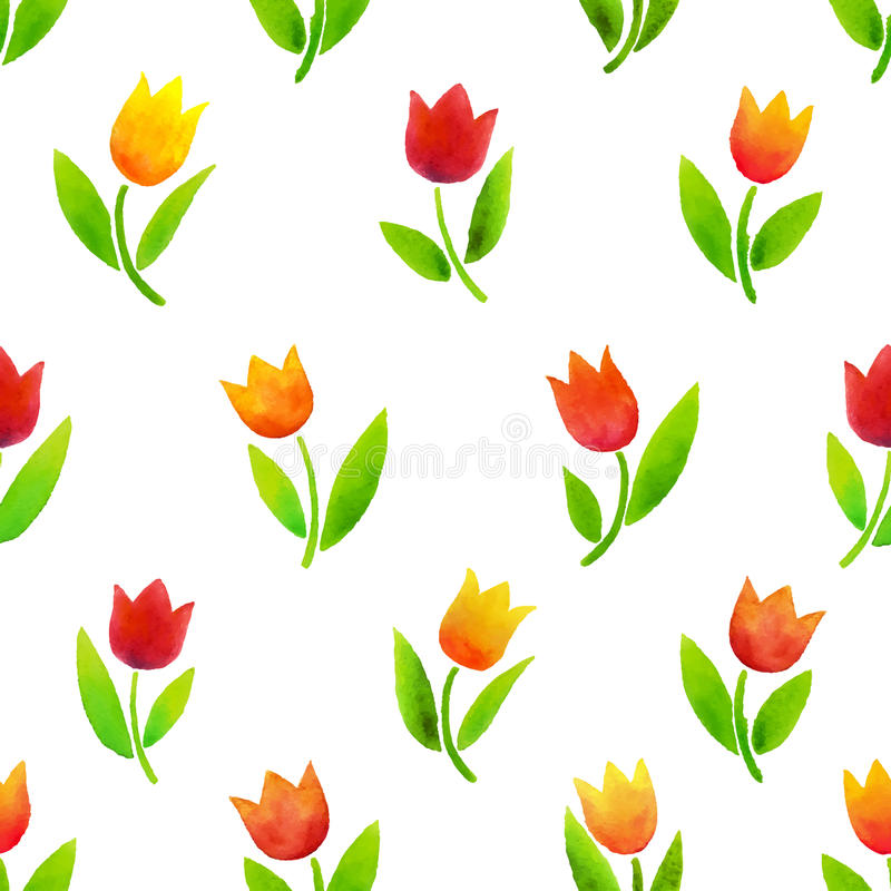 Modello dei tulipani dell'acquerello immagini stock