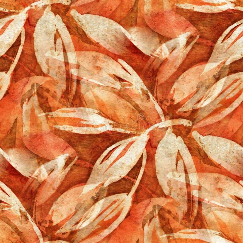 Modello del batik con le foglie illustrazione vettoriale