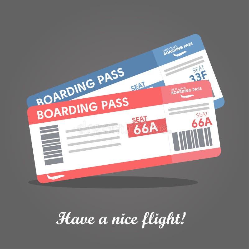 Modello del biglietto aereo Concetto del biglietto del passaggio di imbarco di linea aerea per viaggiare illustrazione vettoriale