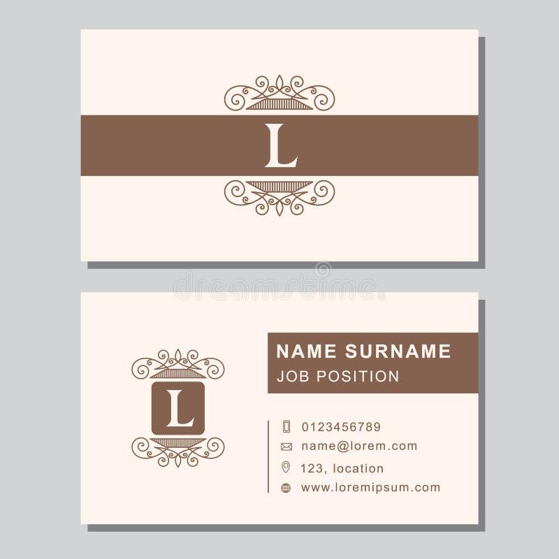 Modello del biglietto da visita con gli elementi astratti di progettazione del monogramma Lettera elegante moderna L dell'emblema illustrazione vettoriale