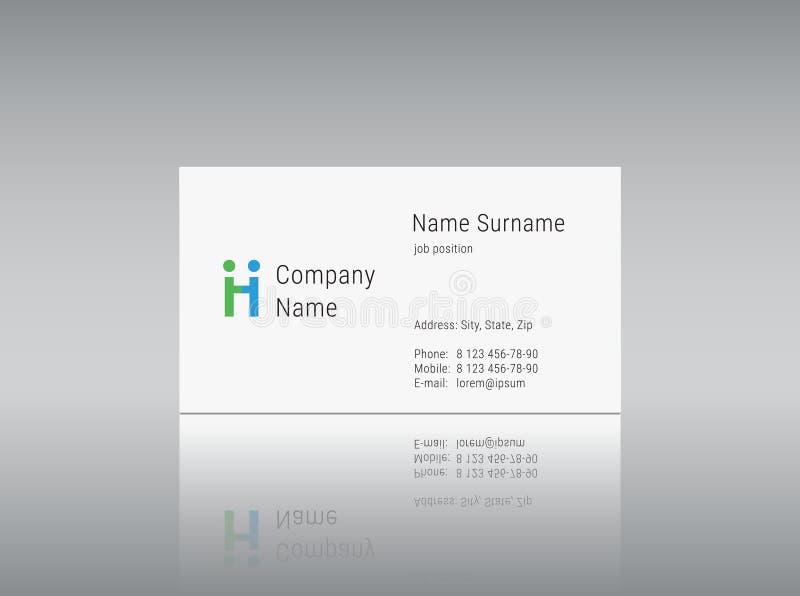Modello del biglietto da visita con la lettera H di alfabeto di logo di vettore royalty illustrazione gratis