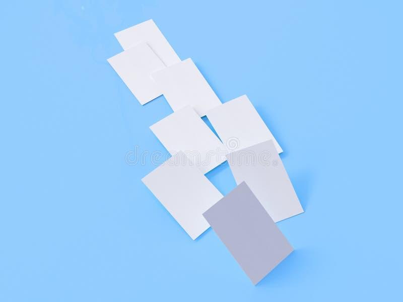 Modello del biglietto da visita, 3d rappresentazione, fondo blu fotografie stock