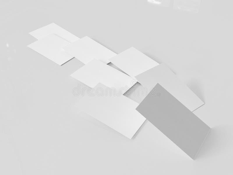 Modello del biglietto da visita, 3d rappresentazione, fondo grigio chiaro fotografie stock