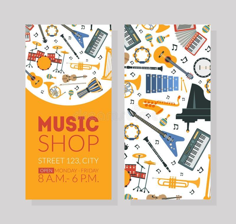 Modello del biglietto da visita del negozio di musica con gli strumenti musicali e spazio per l'illustrazione di vettore del test illustrazione di stock