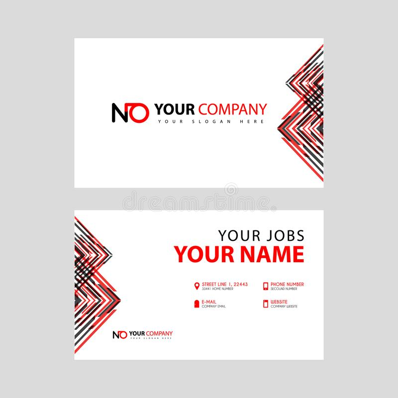 Modello del biglietto da visita in nero ed in rosso con una progettazione piana ed orizzontale più la NESSUNA lettera di logo sul royalty illustrazione gratis