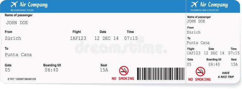 Modello del biglietto del passaggio di imbarco di linea aerea illustrazione vettoriale