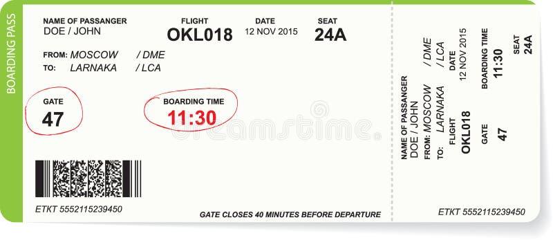 Modello del biglietto del passaggio di imbarco di linea aerea illustrazione di stock