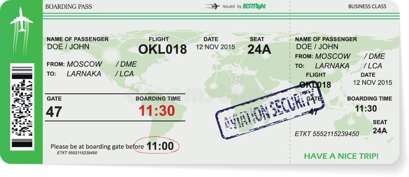 Modello del biglietto del passaggio di imbarco di linea aerea royalty illustrazione gratis