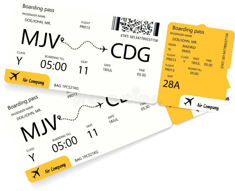 Modello del biglietto di aeroplano illustrazione vettoriale