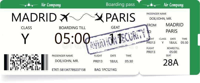Modello del biglietto di aeroplano royalty illustrazione gratis