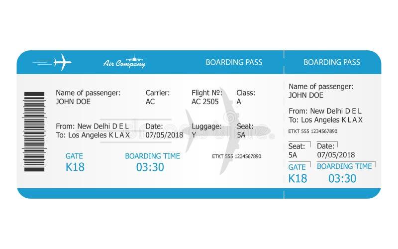 Modello del biglietto del passaggio di imbarco Biglietto di aeroplano concetto online del biglietto di linea aerea di prenotazion illustrazione vettoriale
