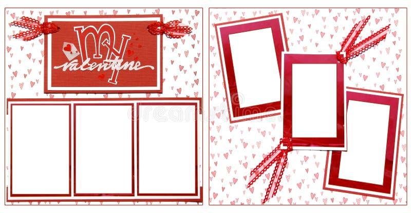 Modello del blocco per grafici dell'album di giorno del biglietto di S. Valentino illustrazione vettoriale