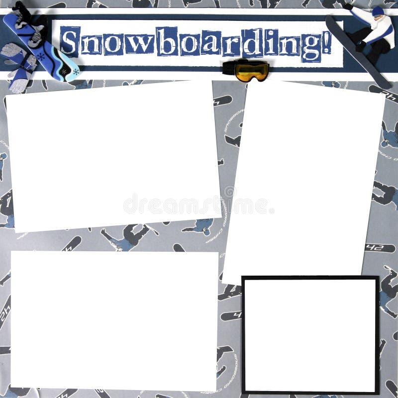 Modello del blocco per grafici dell'album di tema dello Snowboard illustrazione vettoriale