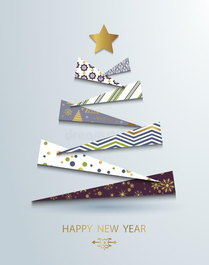 Modello del buon anno Priorità bassa astratta dell'albero di Natale Il Babbo Natale su una slitta Vettore royalty illustrazione gratis