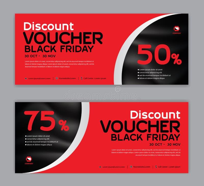 Modello del buono di regalo, BLACK FRIDAY, insegna di vendita a ribasso, disposizione orizzontale, carte di sconto, intestazioni, illustrazione di stock