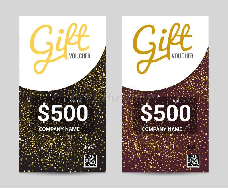 Modello del buono di regalo con progettazione dorata con i elemants geometrici, progettazione del modello del buono del certifica illustrazione di stock