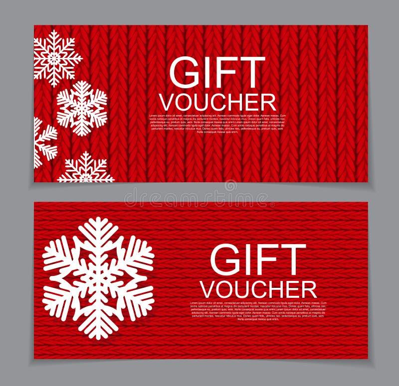 Modello del buono di regalo per il Natale ed il buono di sconto del nuovo anno royalty illustrazione gratis
