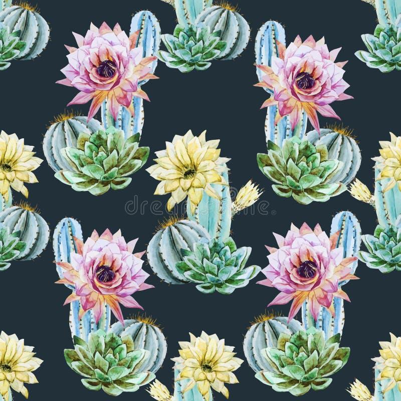 Modello del cactus dell'acquerello illustrazione di stock