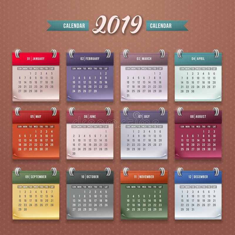 Modello 2019 del calendario royalty illustrazione gratis