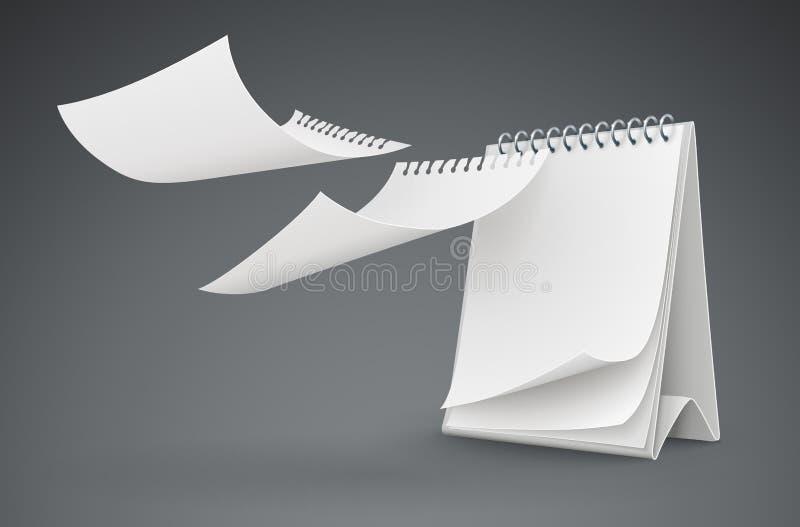 Modello del calendario con pilotare le pagine in bianco illustrazione vettoriale