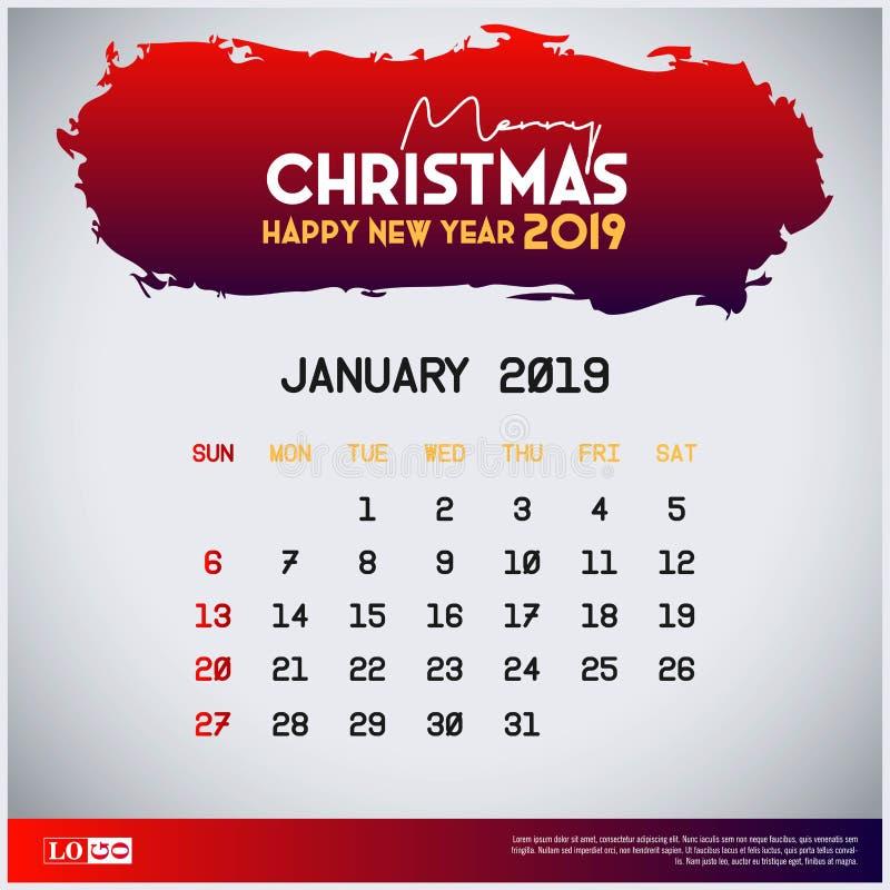 2019 modello del calendario di gennaio Buon Natale e fondo rosso dell'intestazione del buon anno royalty illustrazione gratis
