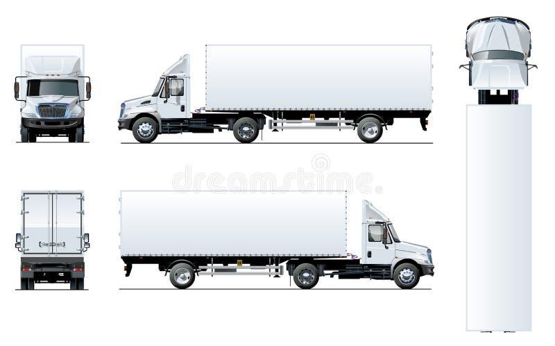 Modello del camion dei semi di vettore isolato su bianco royalty illustrazione gratis