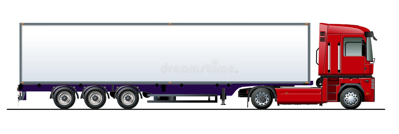 Modello del camion di vettore isolato su bianco royalty illustrazione gratis