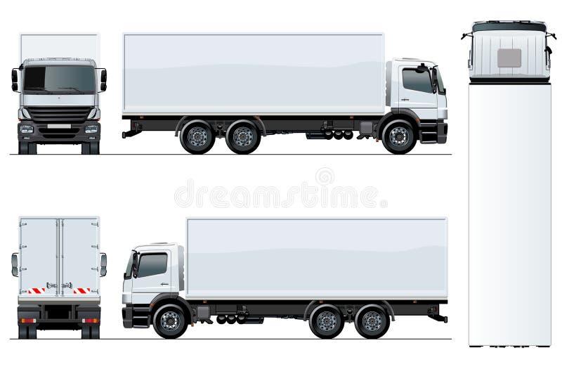 Modello del camion di vettore isolato su fondo bianco royalty illustrazione gratis