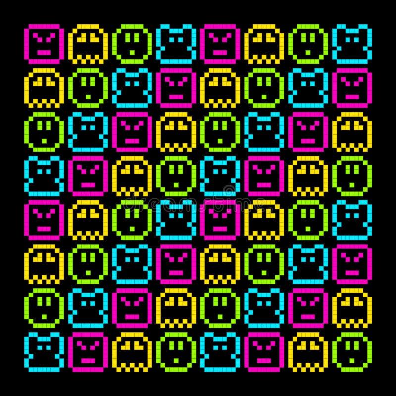 modello del carattere dell'arcobaleno del pixel di 8 bit retro Vettore EPS8 illustrazione vettoriale