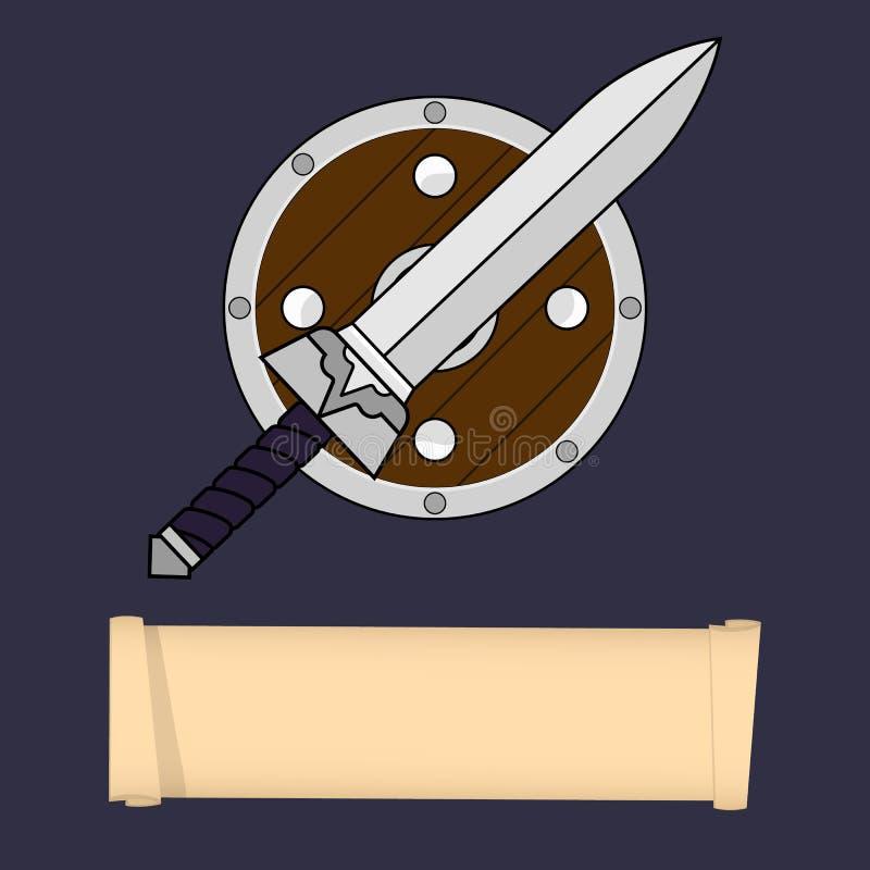 Modello del carattere del gioco, classe Guerriero, barbaro, cavaliere Classes Attributi della classe del guerriero Illustrazione  royalty illustrazione gratis