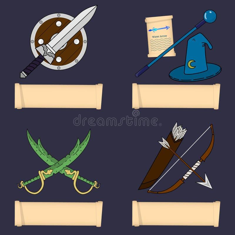 Modello del carattere del gioco, classe Guerriero, stregone, canaglia, guardia forestale Classi principali di ruolo Selezioni la  illustrazione di stock