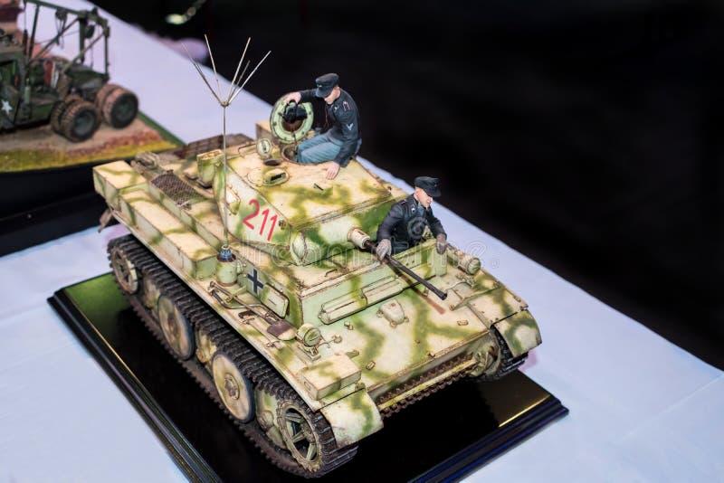 Modello del carro armato e dei soldati tedeschi da WWII immagine stock libera da diritti