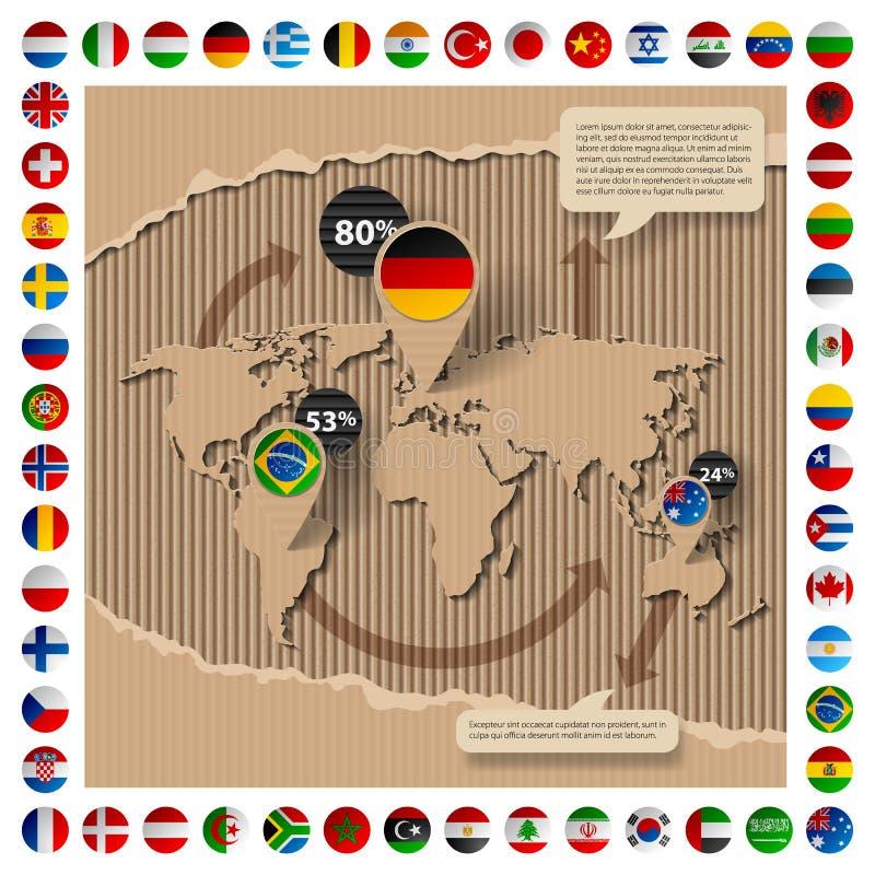Modello del cartone con la mappa e le bandiere di mondo illustrazione vettoriale