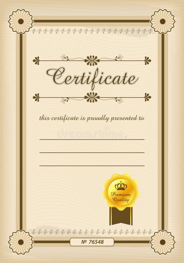 Modello del certificato Certifichi il modello nel vettore per completamento di graduazione di risultato Modello del certificato c illustrazione di stock